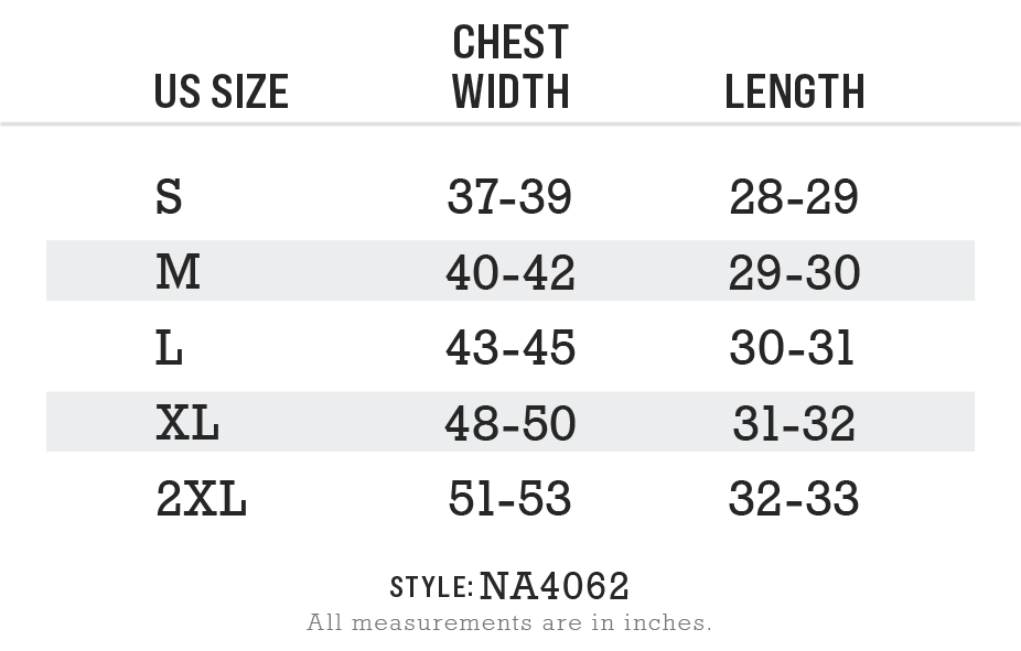 Men's Ridiculously Soft Midweight V-Neck Size Chart