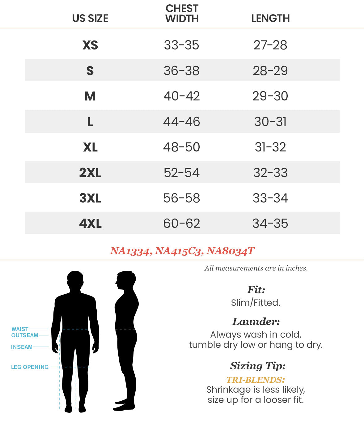NA1334 Mens Graphic T-Shirt Size Chart