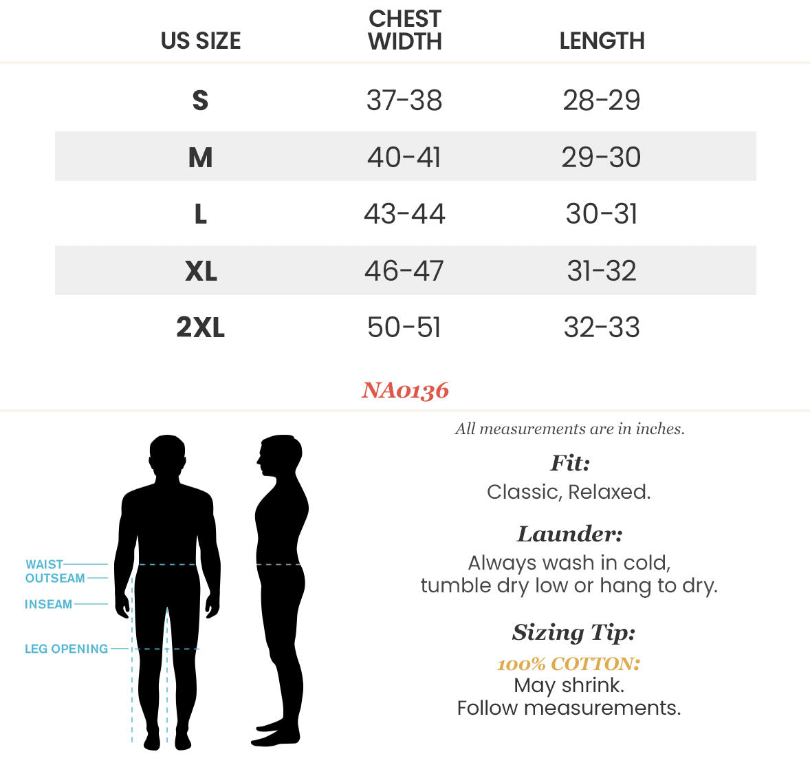 NA0136-XPRT Men's Graphic T-Shirt Size Chart