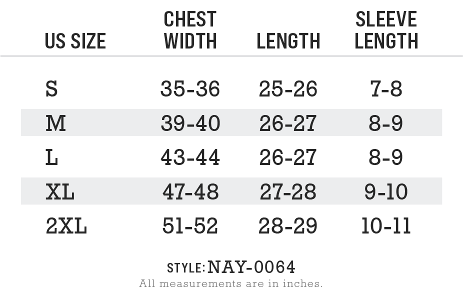 Nayked Apparel Style NAY-B-1364 Size Chart