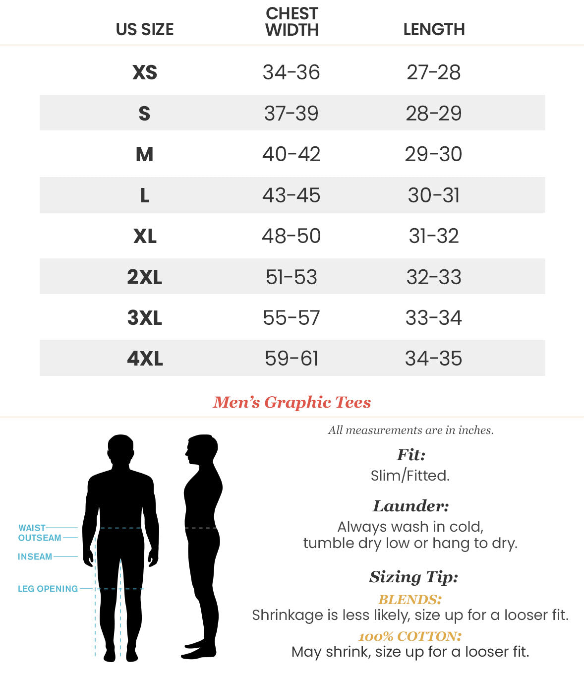 NA0036 Mens Graphic T-Shirt Size Chart