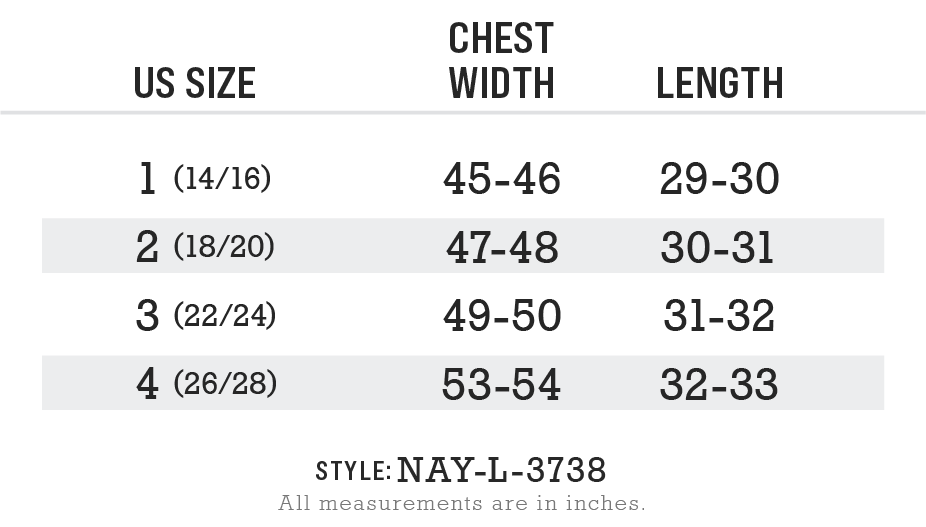 Nayked Apparel Style NAY-L-3738 Size Chart