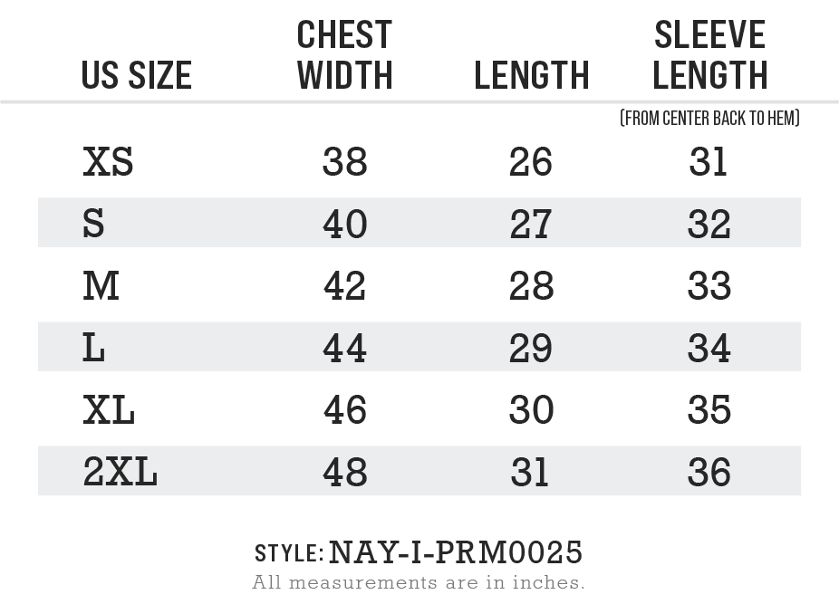 Nayked Apparel Style NAY-I-PRM0025 Size Chart