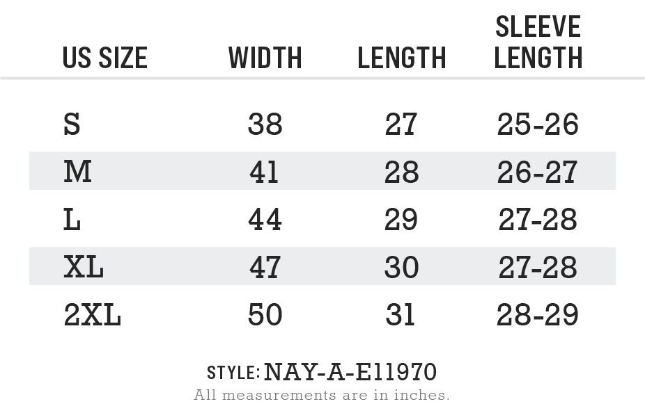Men's Ridiculously Soft Vintage Recycled Full-Zip Hooded T-Shirt Size Chart