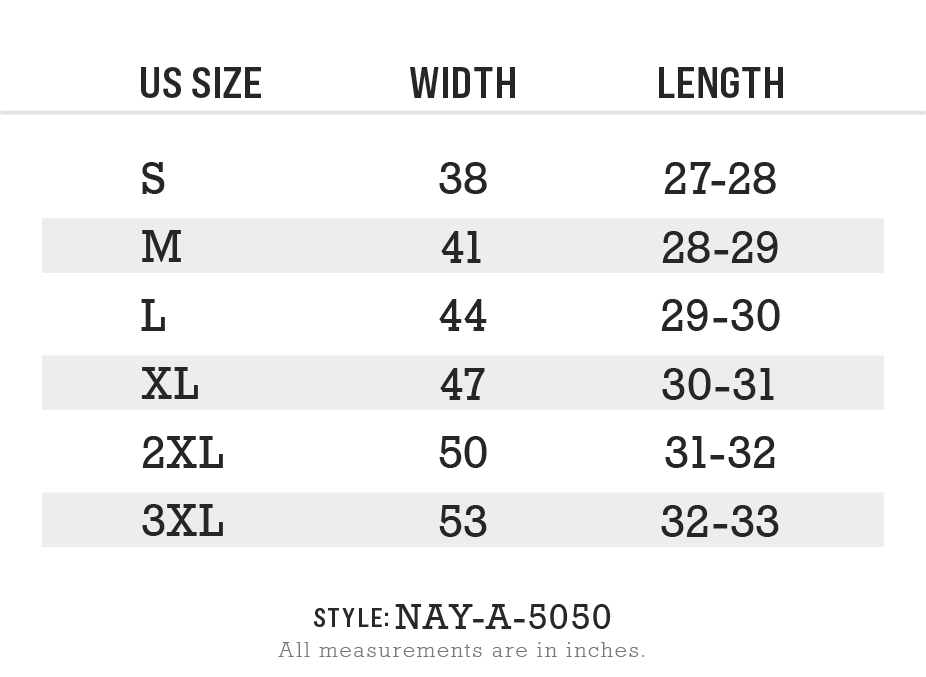 Nayked Apparel Style NAY-A-5050 Size Chart