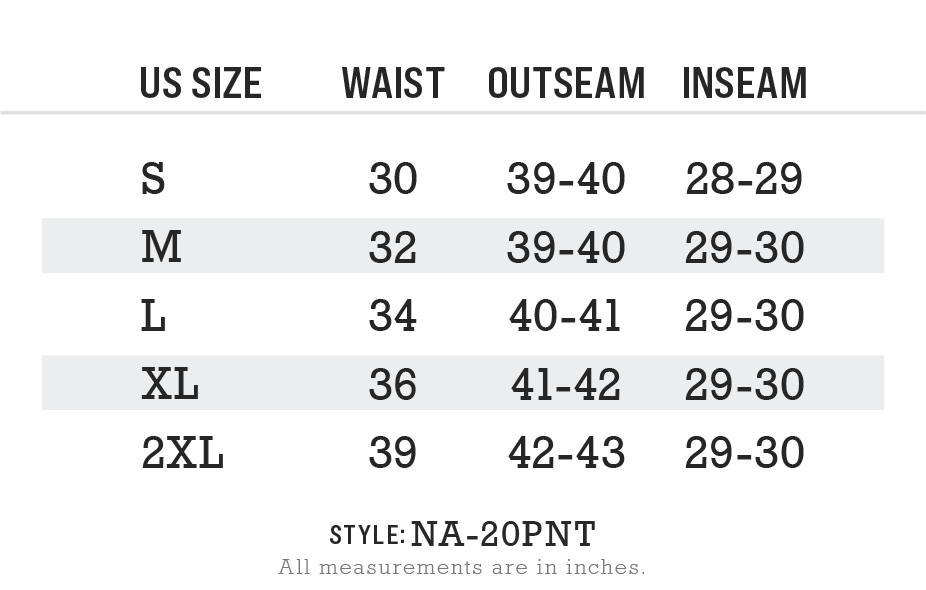 Men's Ridiculously Soft Midweight Fleece Pant Size Chart