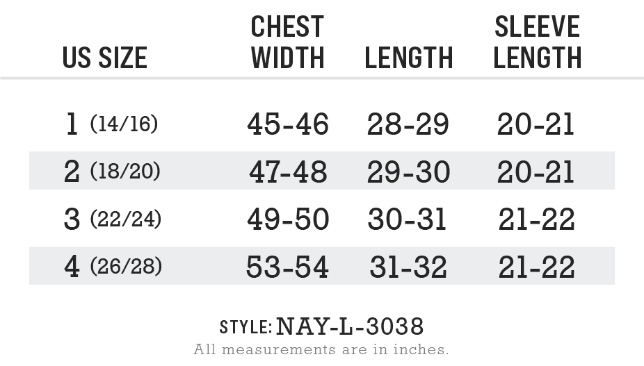 Nayked Apparel Style NAY-L-3038 Size Chart