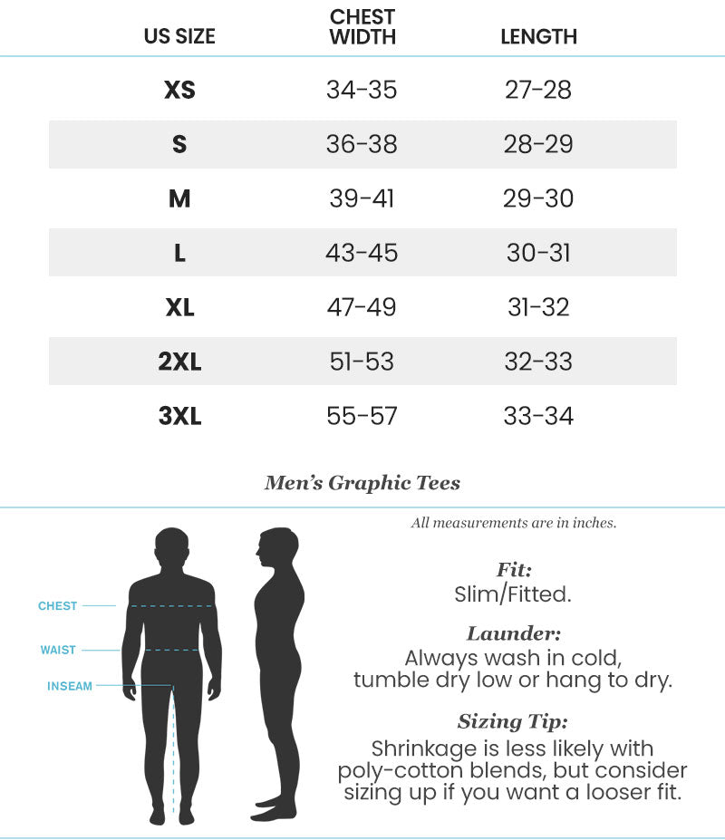 Size Chart for Nayked Apparel Graphic Tees
