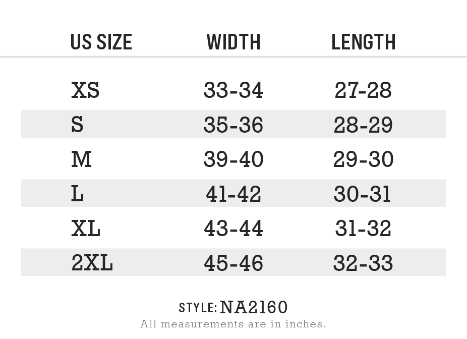 NA2160 - Mens Ridiculously Soft Lightweight Hoodie Size Chart