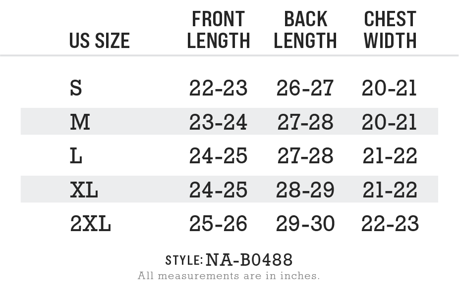 NA-B0488 - Women's Ridiculously Soft Flowy Rolled Cuffs Muscle Tee Size Chart