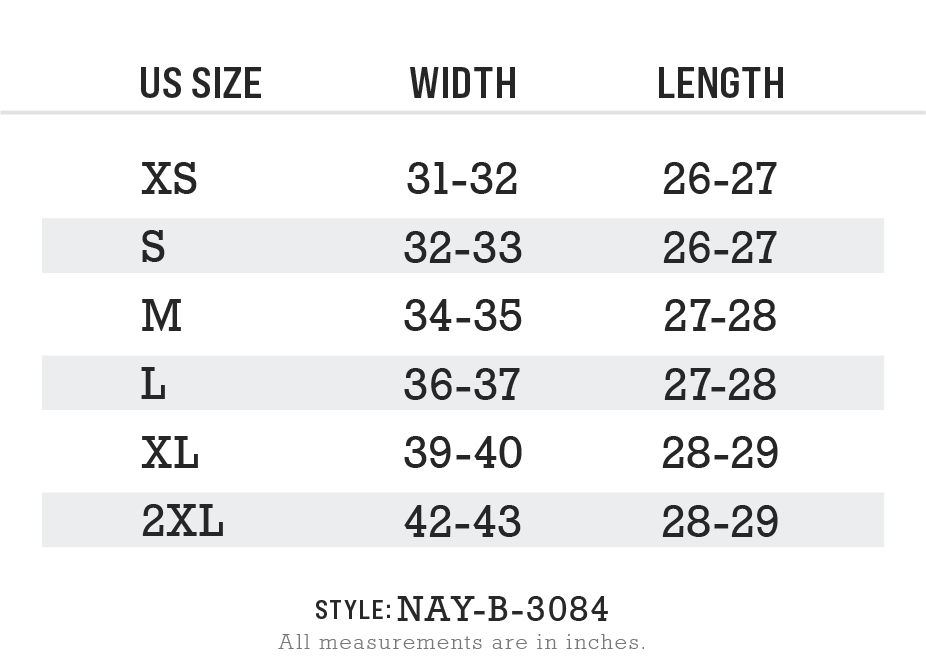 Nayked Apparel Style NAY-B-3084-v2 Size Chart