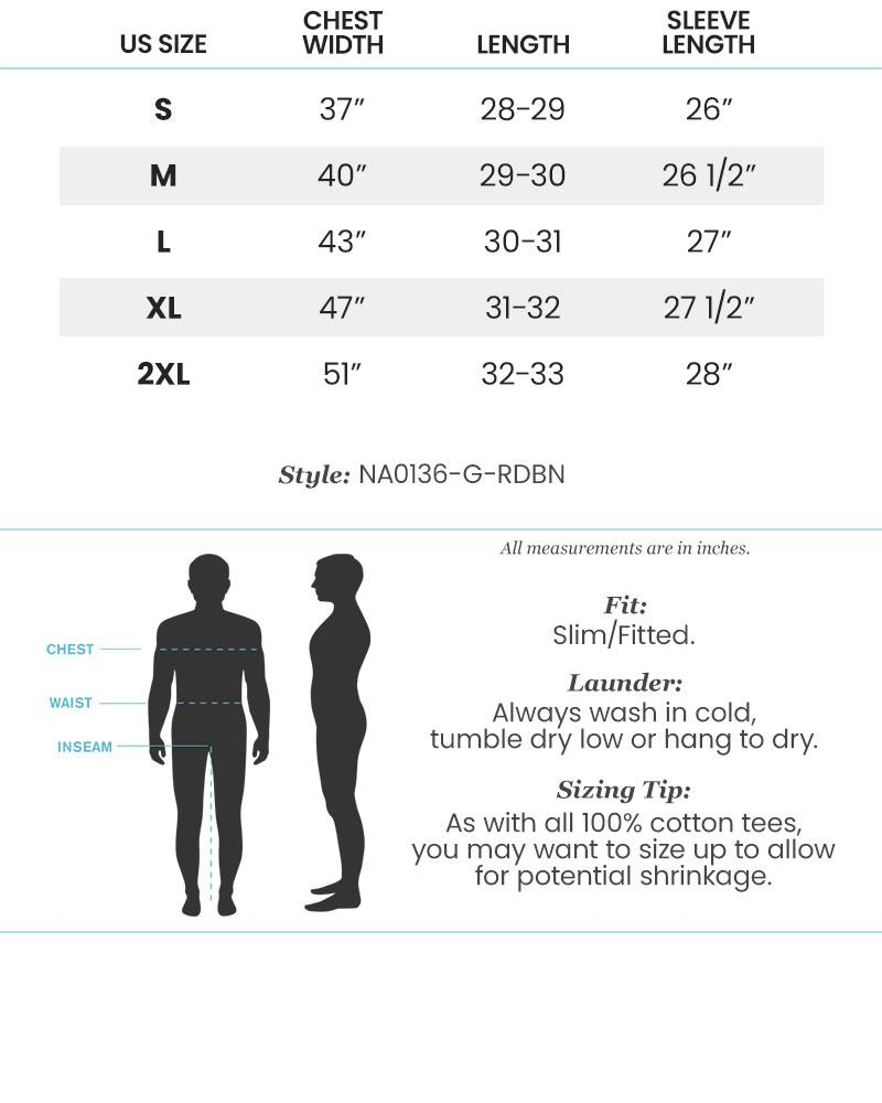 Size Chart for Nayked Apparel Mens Long Sleeve Graphic Tees