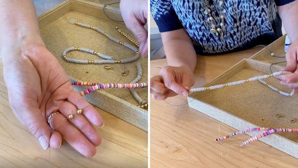 stringing beads onto wire