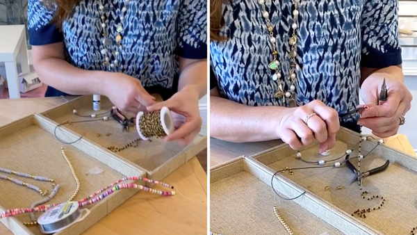 cutting rosary chain for DIY mask chain
