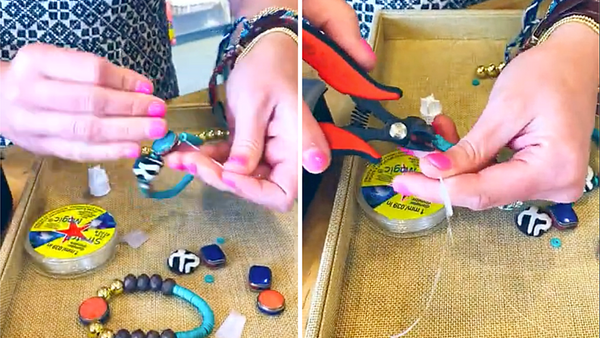 Finishing stretchy bracelets by knotting and cutting string