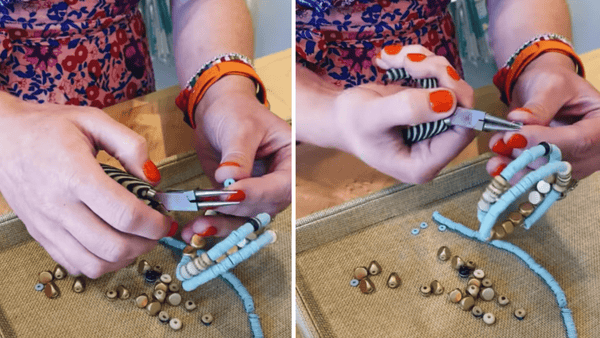 curling the end of the memory wire to secure the beads and finish the bracelet