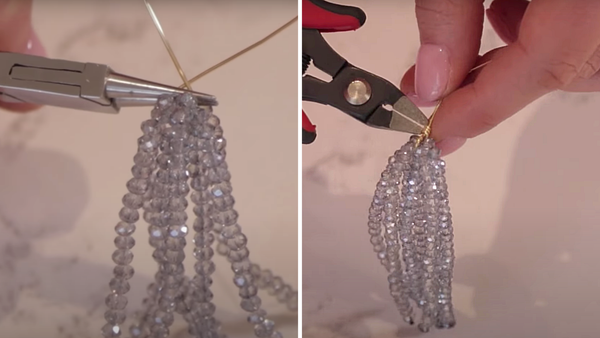 combining beaded sections with wire to create body of tassel