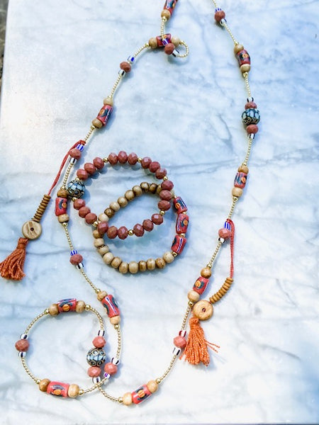 jewelry making project - terra cotta necklace and bracelet set