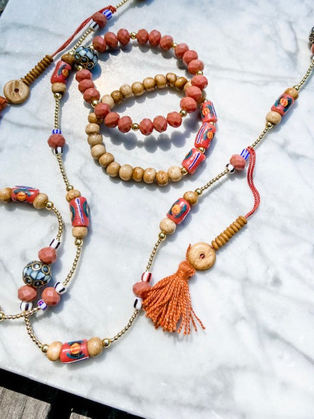 Terra cotta necklace and bracelet set