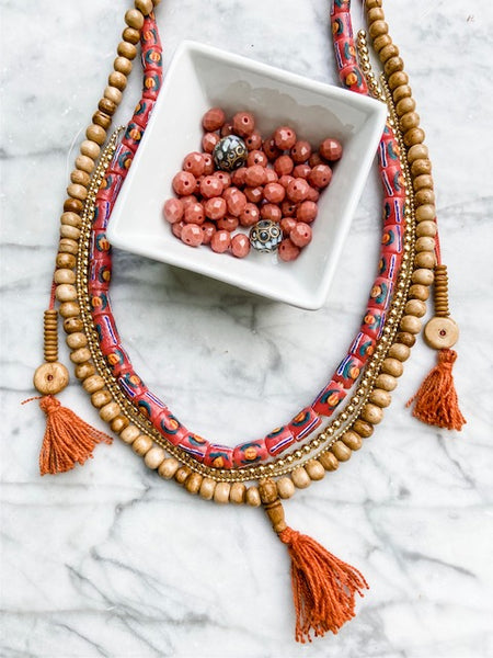 supplies needed to make this bracelet and necklace set