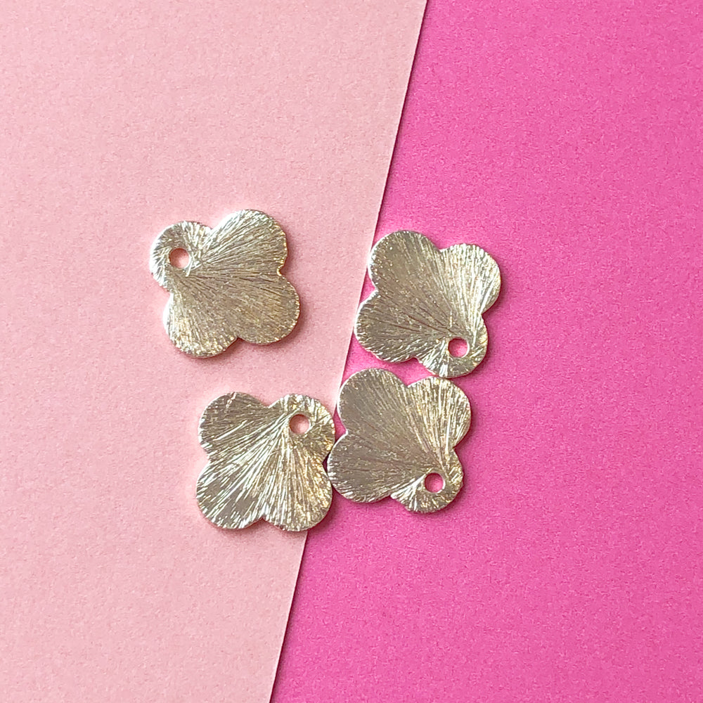 12mm Brushed Gold Quatrefoil Charm - Pack of 4