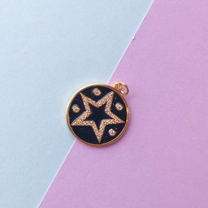 Load image into Gallery viewer, 20mm Enamel Pave Crystal Star Pendant