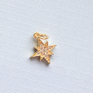 12mm 8-Point Pave Crystal Star Charm - Christine White Style