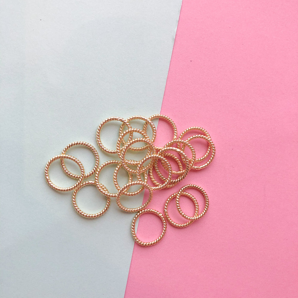 12mm Gold Twist Soldered Ring - 20 Pack