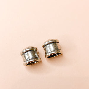 11mm Shiny Distressed Silver Caps- 2 Pack - Christine White Style