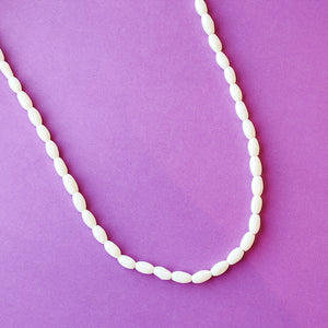5mm Smooth Natural Bone Rice Bead Strand