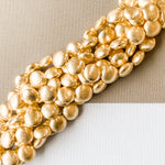 14mm Gold Brushed Puffed Coin Strand