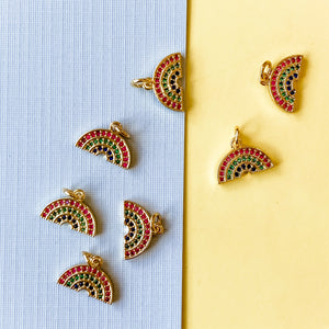 14mm Gold Pave Rainbow Charm