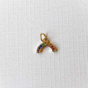 Load image into Gallery viewer, 10mm Gold Pave Rainbow Charm