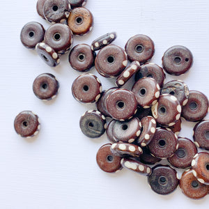 14mm Brown Bone Rondelles - 50 Pack - Christine White Style