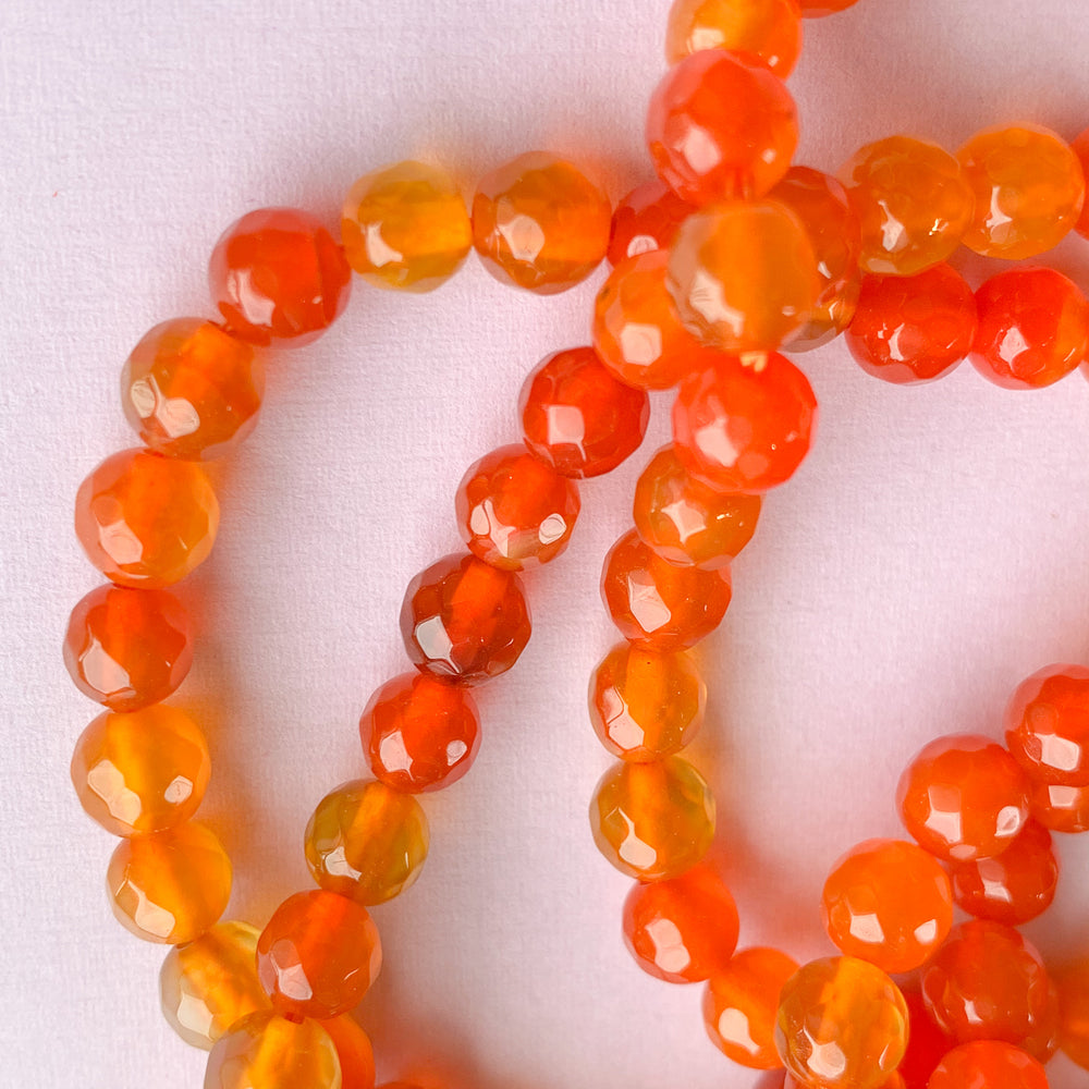 6mm Two-Tone Orange Faceted Agate Rounds Strand