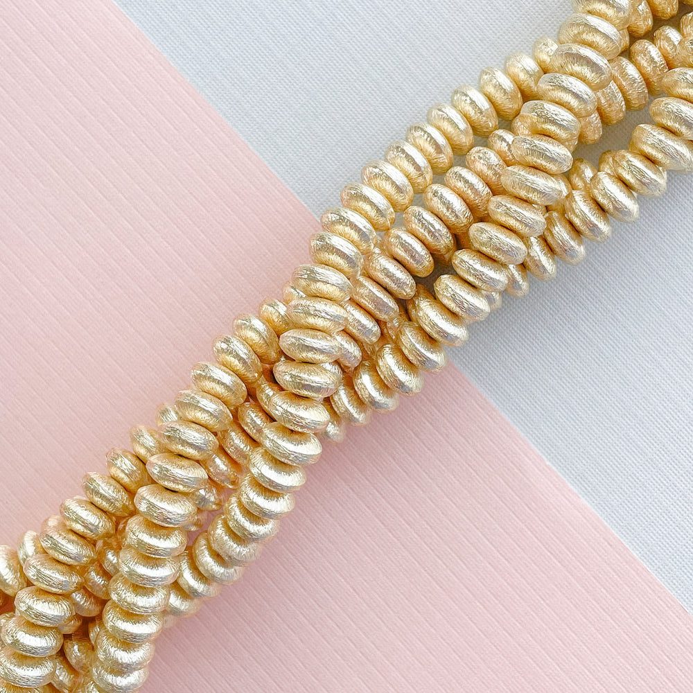 8mm Brushed Gold Saucer Strand