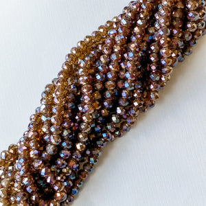 8mm Iridescent Chocolate Faceted Chinese Crystal Strand