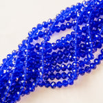 10mm Cobalt Faceted Chinese Crystal Rondelle Strand