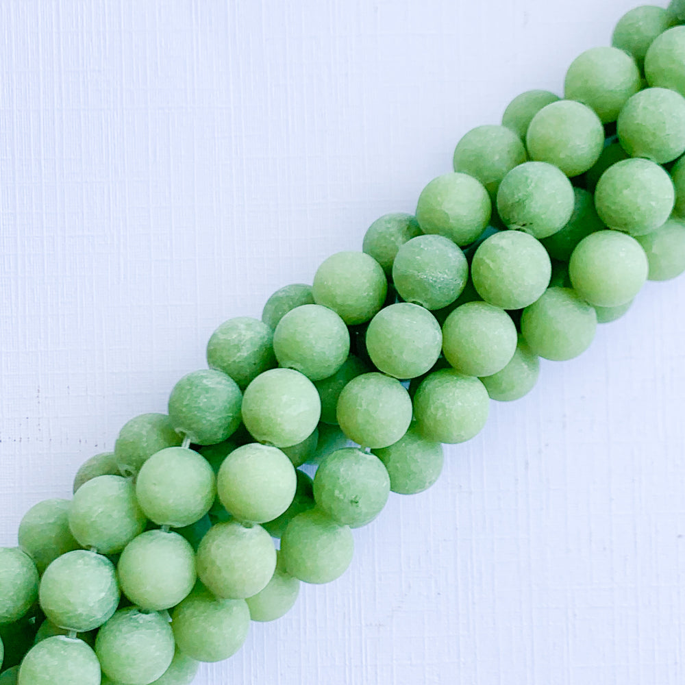 8mm Matte Moss Dyed Jade Rounds Strand