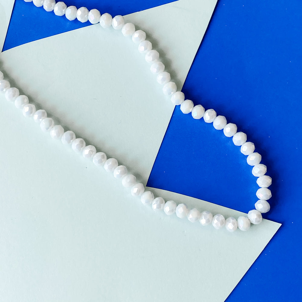 6mm Diamond Finish Opaque White Crystal Rondelle Strand