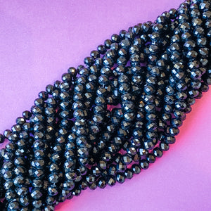8mm Jet Black Chinese Crystal Rondelle Strand