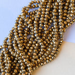6mm Mirrored Gold Faceted Crystal Rondelle Strand