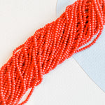 4mm Bright Red Faceted Crystal Rondelle Strand