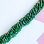 4mm Translucent Kelly Green Faceted Chinese Crystal Rondelle Strand