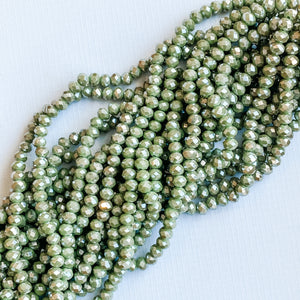 8mm Mystic Lime Faceted Crystal Rondelle Strand