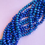 10mm Wizard Blue Faceted Crystal Rondelle Strand