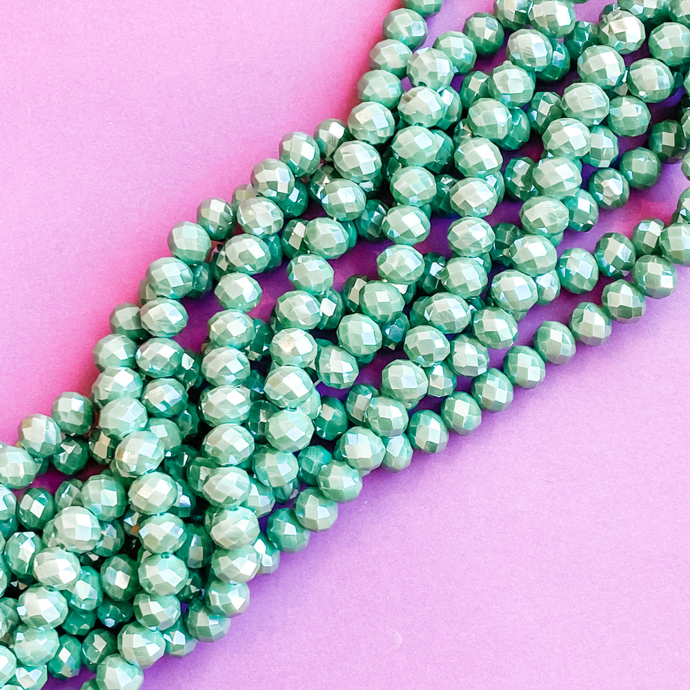 10mm Mystic Wintergreen Faceted Crystal Rondelle Strand