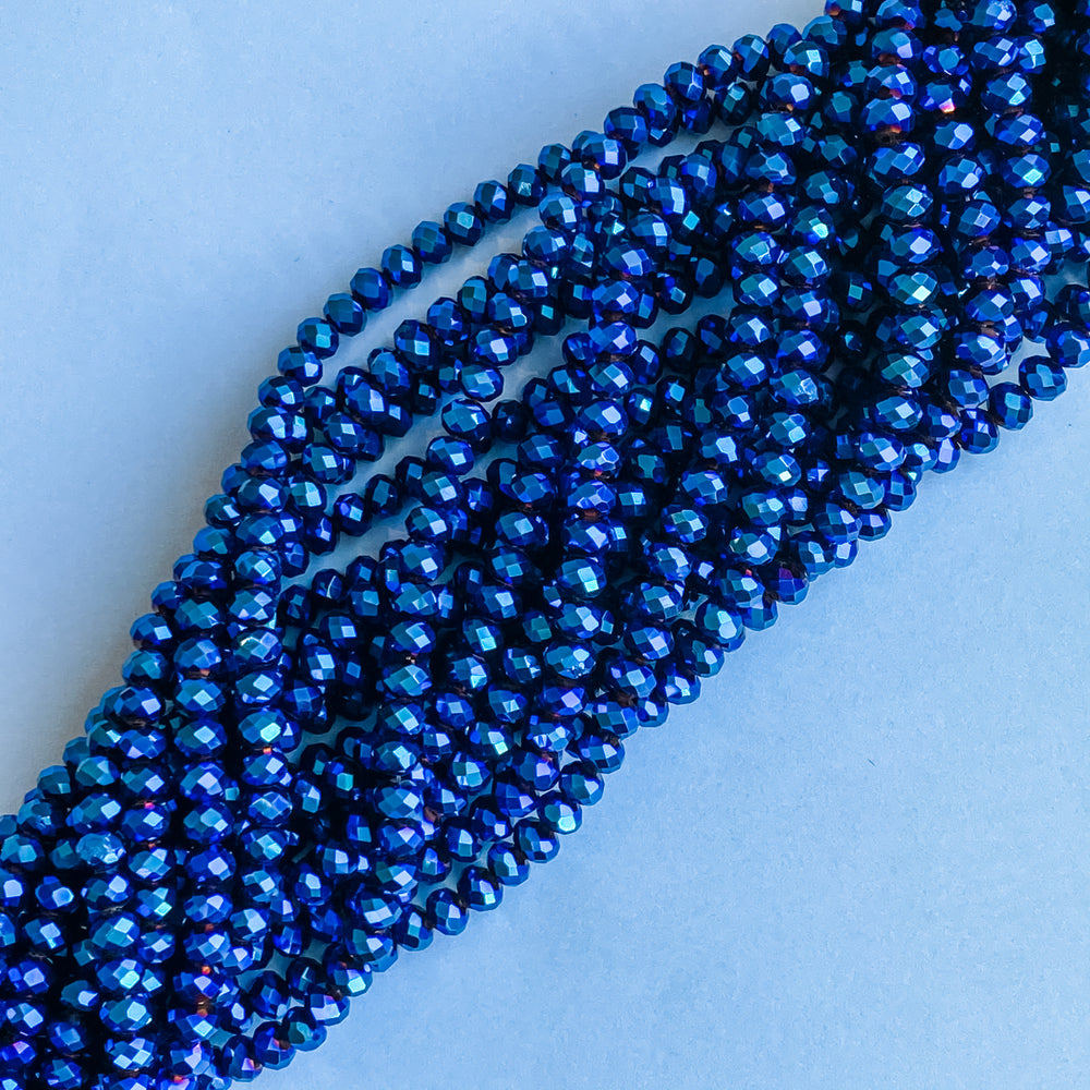 6mm Wizard Blue Faceted Crystal Rondelle Strand