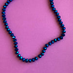 8mm Wizard Blue Faceted Crystal Rondelle Strand