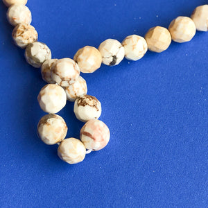 6mm Faceted Natural Howlite Rounds Strand - Christine White Style
